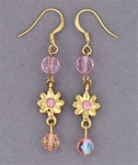 Gold French Hooks with color beads and stones