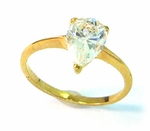 Gold Pear Cubic Zirconia Ring