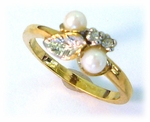 Gold pearl and crystal leaf ring