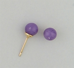gold posted Ball 6mm Amethyst simulated