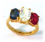 gold red white & blue facet ring