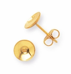 gold stainless steel 7mm posted earring cup no peg