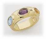 Gold Topaz Amethyst and Aquamarine Ring
