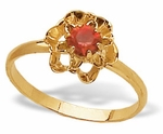 Gold With Red Crystal Ring