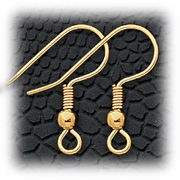 Jewelry Components Gold French hook wire with ball - 1 Pair