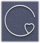 Jewelry Components silver ear wire with heart shape loop 1 pair