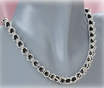 Jewelry Necklace Silver Jet bead in cage