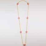 Necklace 35 inch gold chain and pink bead continuous