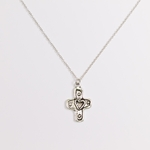 "necklace antique silver cross with heart 18"" necklace"