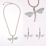 necklace earring set copper patina dragonfly