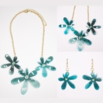 necklace earring set gold  turquoise flowers French hook