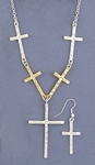 Necklace Earring Set silver gold cross necklace silver French hook
