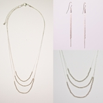 necklace earring set three strand silver bead necklace French hook