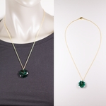 necklace gold 20 inch chain 23mm Swarovski crystal green clover