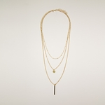 necklace gold multi layer tiny beads disk and stick