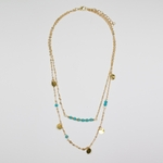 necklace gold turquoise bead double strand
