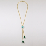 Necklace gold with aqua bead chain and green teardrop dangle