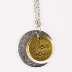 necklace love you to the moon and back silver and gold pendant