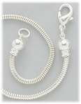 Necklace silver 2.6 mm snake chain with threaded end