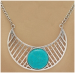 necklace silver collar with turquoise magnesite stone