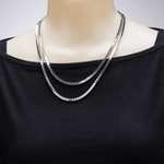 necklace silver double box chain