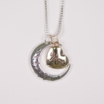 necklace silver love you to the moon and back moon gold heart mom