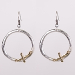 pierced earring antiqued silver French hook ring with gold cross