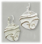 Pierced Earring Euro Clasp Matte Silver with Shiny Silver Accents