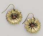 pierced earring French hook antique gold flower with brown center