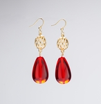 pierced earring gold French hook cage bead and and fat red teardrop