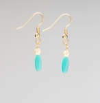 pierced earring gold French hook with pearl and aqua beads