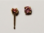 pierced earring gold plated stainless 4mm pink cubic zirconia tiffany