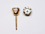 pierced earring gold plated stainless 5mm cubic zirconia tiffany