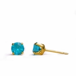 pierced earring gold plated stainless 5mm December tiffany