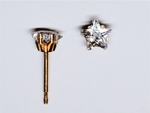 pierced earring gold plated stainless 5mm star cubic zirconia tiffany