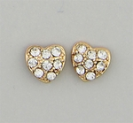pierced Earring gold posted crystal crusted heart