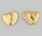 pierced Earring gold posted double hearts