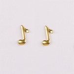 pierced earring gold posted tiny music note