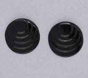 pierced earring posted stainless steel step circle black