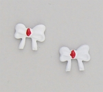 pierced Earring posted white bow with red center