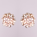 pierced earring rose gold peach white flowers crystals clutchless