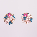 pierced earring rose gold pink blue white flowers crystals clutchless