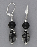 pierced earring silver euro clasp clear and black nugget bead
