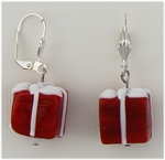 pierced earring silver euro clasp glass red package with white bow