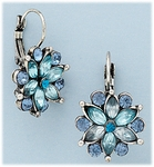 pierced Earring silver euro clasp lever back flower with blue stones