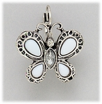 pierced Earring silver euro clasp lever back white butterfly