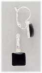 pierced Earring silver euro clasp lever back with black square