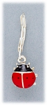 Earring silver euro clasp lever back with red & black ladybug