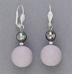 pierced earring silver euro clasp round disco ball pink patina beads