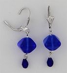 pierced earring silver euro clasp sapphire square and teardrop beads